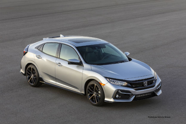 high angle view of a silver 2020 Honda Civic Hatchback