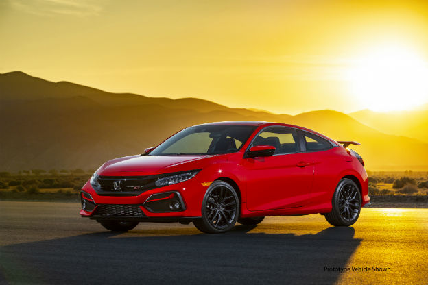 side view of a red 2020 Honda Civic Si