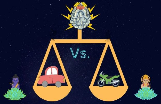 God performs a cosmic weighing of the volume of Honda automobiles produced Vs. Honda motorcycles.