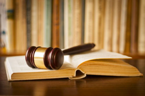 A gavel rests on a book of Law.