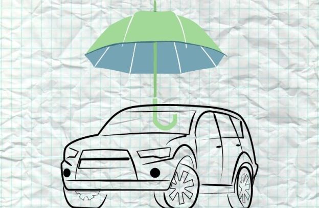 An umbrella symbolically hovers over a car on graph paper