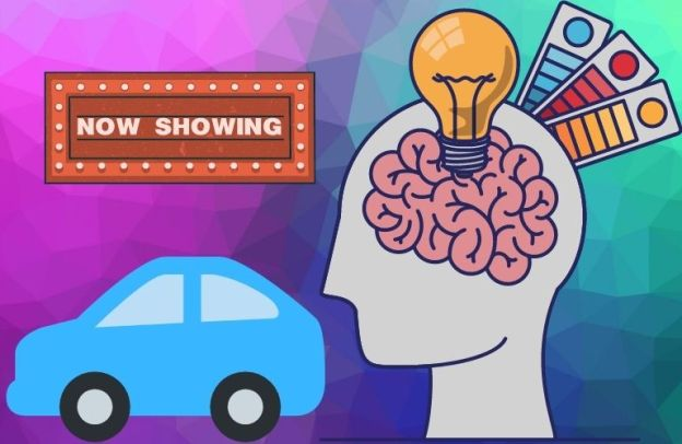 "A guy with lights in his brain looks at a car under a ""Now Showing"" sign"