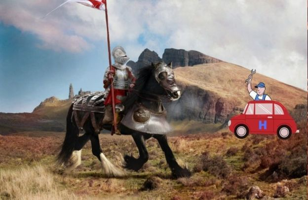 A mechanic builds a Honda way back in Medieval times as a knight looks on