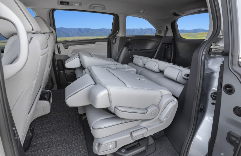 Rear seats folded down inside a 2022 Honda Odyssey